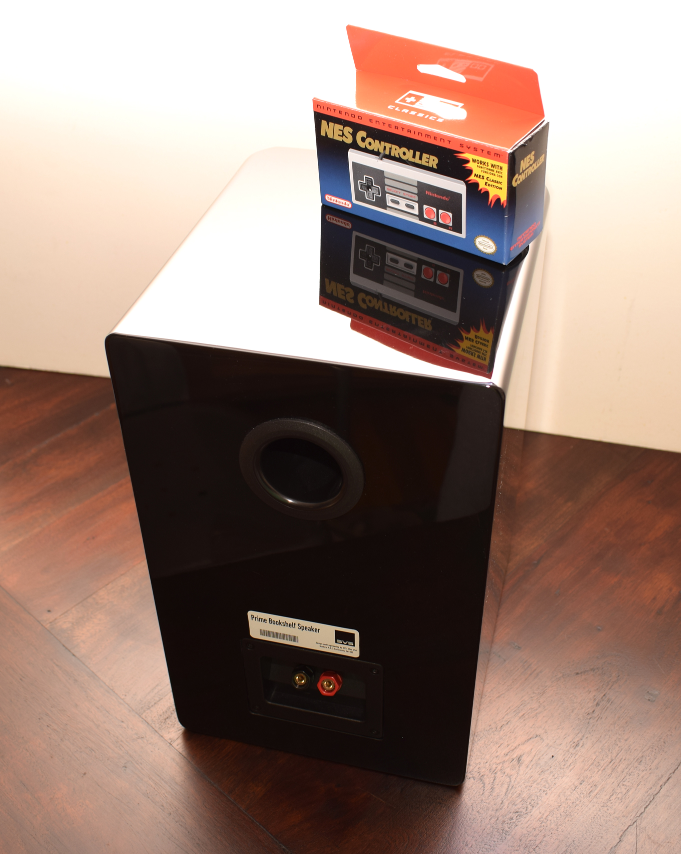 SVS Prime Bookshelf Speaker Review - Rear with NES Classic Controller